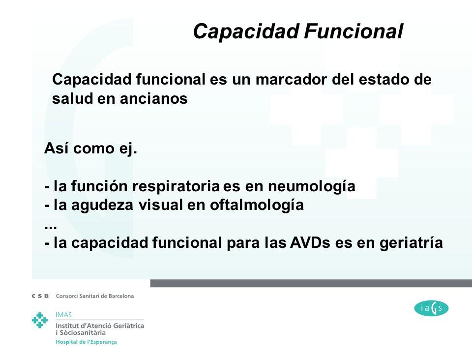 Capacidad Funcional Capacidad funcional es un marcador del estado de