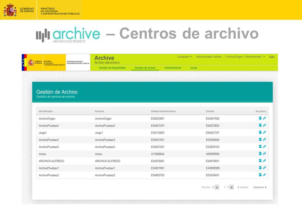 – Centros de archivo