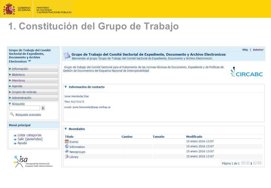 1. Constitución del Grupo de Trabajo