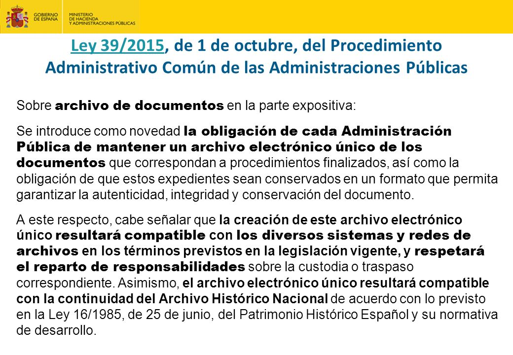 Ley 39/2015, de 1 de octubre, del Procedimiento Administrativo Común de las Administraciones Públicas