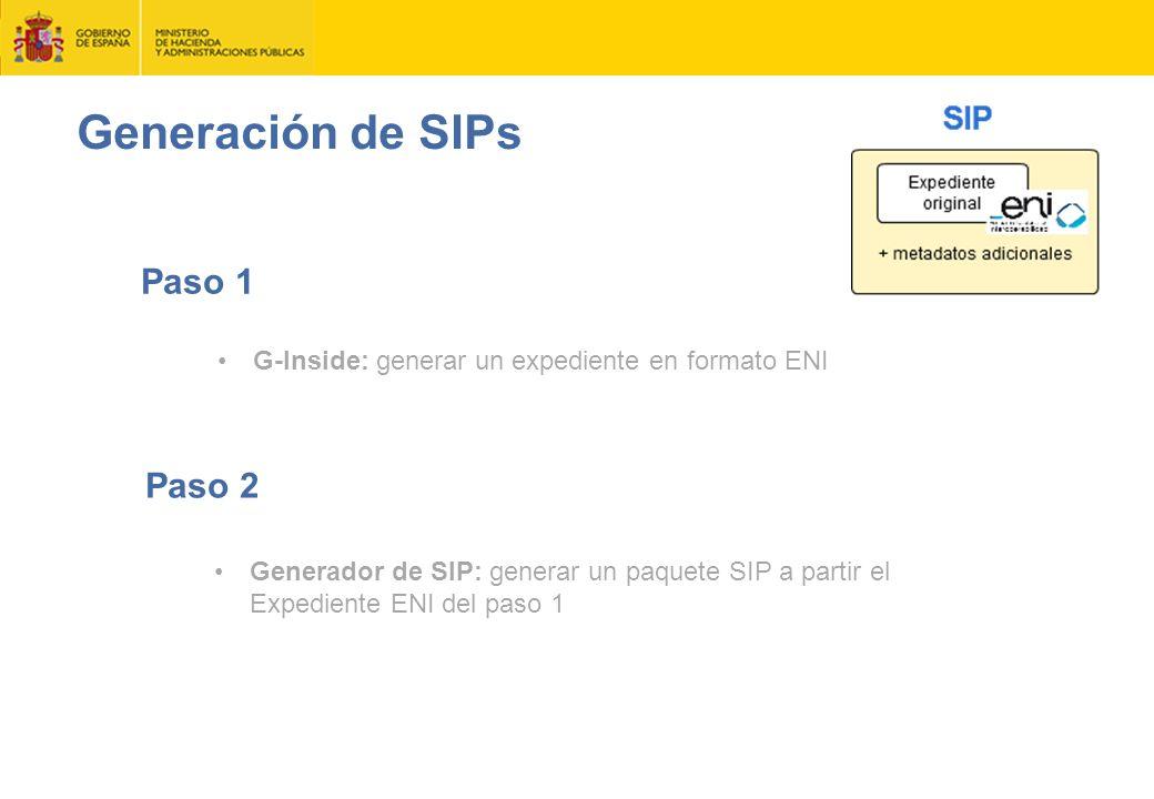 Generación de SIPs Paso 1 Paso 2