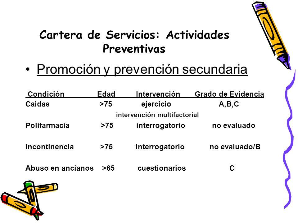 Cartera de Servicios: Actividades Preventivas
