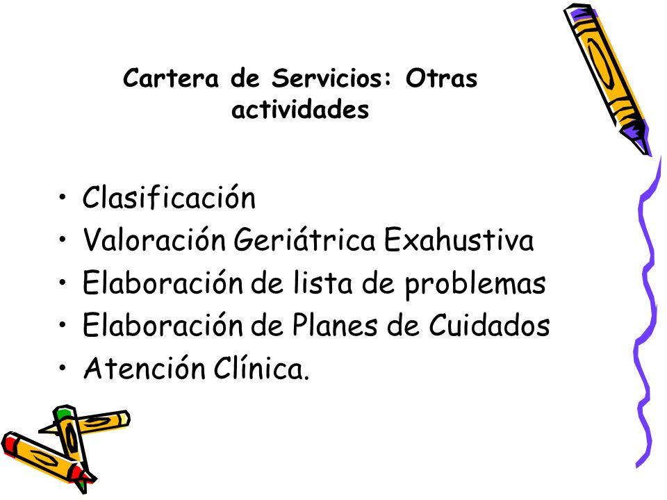 Cartera de Servicios: Otras actividades
