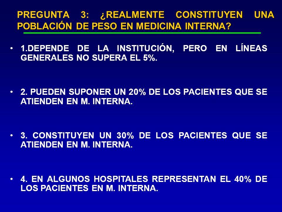 PREGUNTA 3: ¿REALMENTE CONSTITUYEN UNA POBLACIÓN DE PESO EN MEDICINA INTERNA