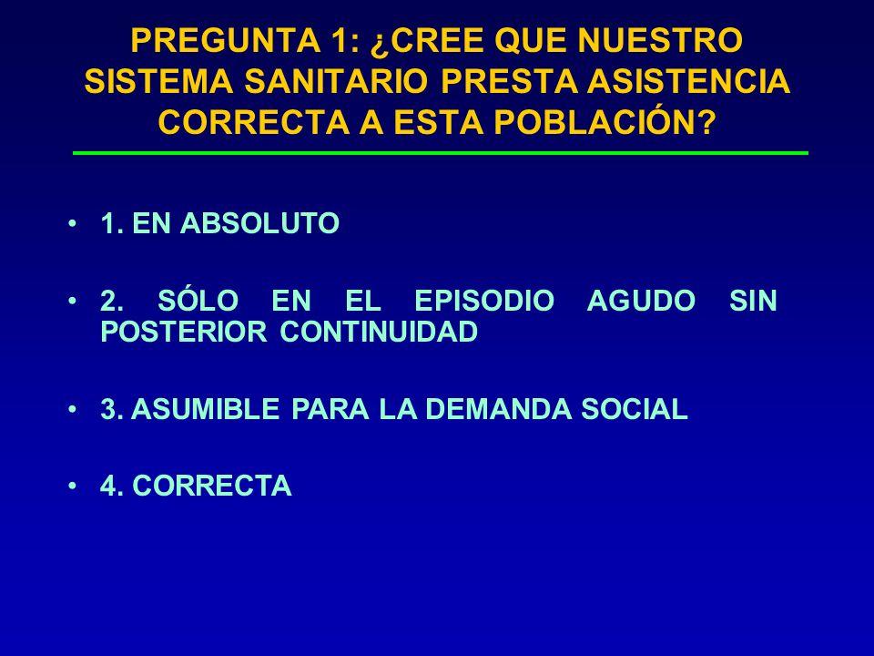 PREGUNTA 1: ¿CREE QUE NUESTRO SISTEMA SANITARIO PRESTA ASISTENCIA CORRECTA A ESTA POBLACIÓN