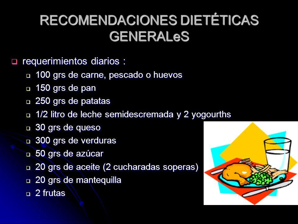 RECOMENDACIONES DIETÉTICAS GENERALeS