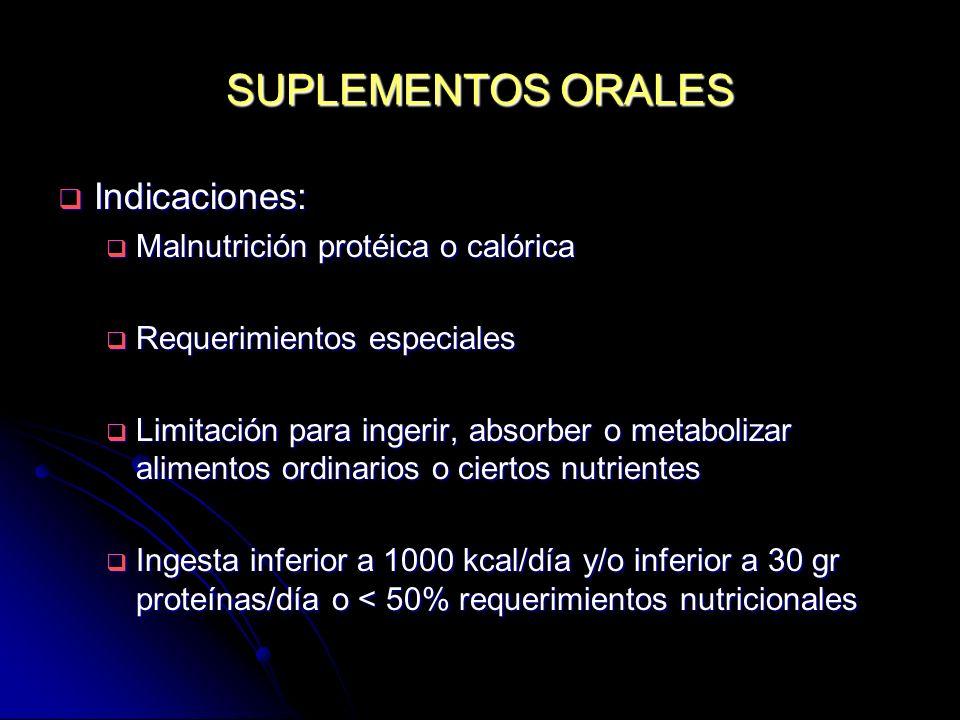 SUPLEMENTOS ORALES Indicaciones: Malnutrición protéica o calórica