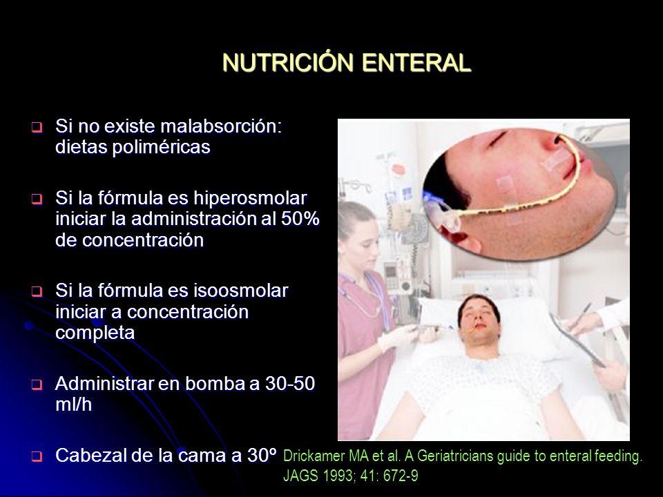 NUTRICIÓN ENTERAL Si no existe malabsorción: dietas poliméricas