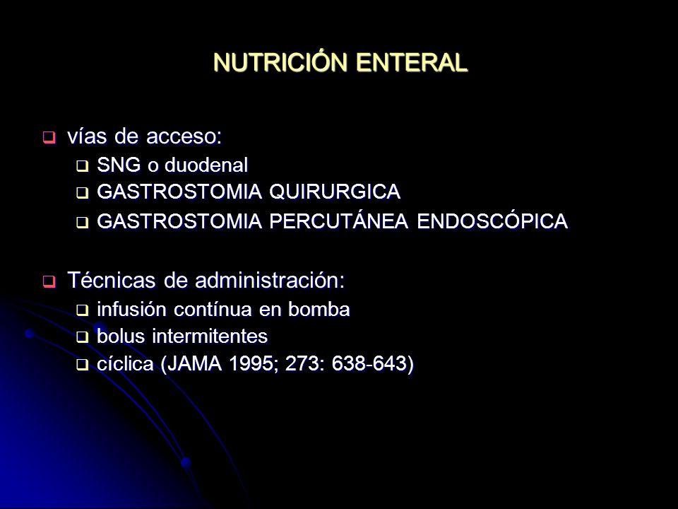 NUTRICIÓN ENTERAL vías de acceso: Técnicas de administración: