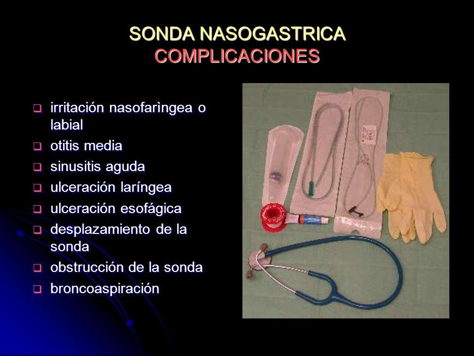 SONDA NASOGASTRICA COMPLICACIONES