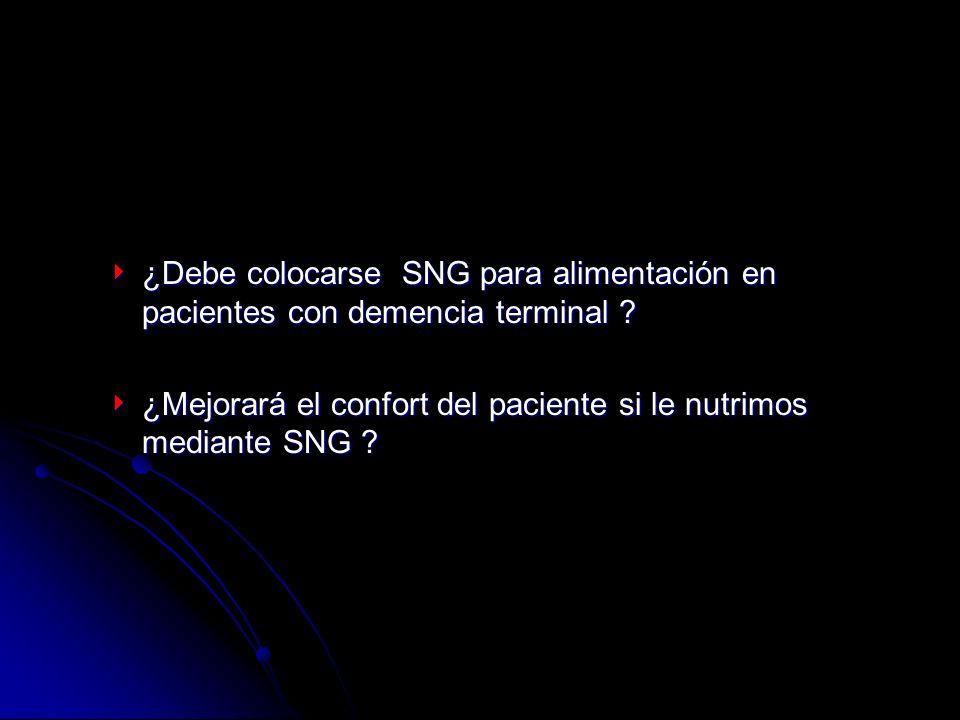 ¿Debe colocarse SNG para alimentación en pacientes con demencia terminal