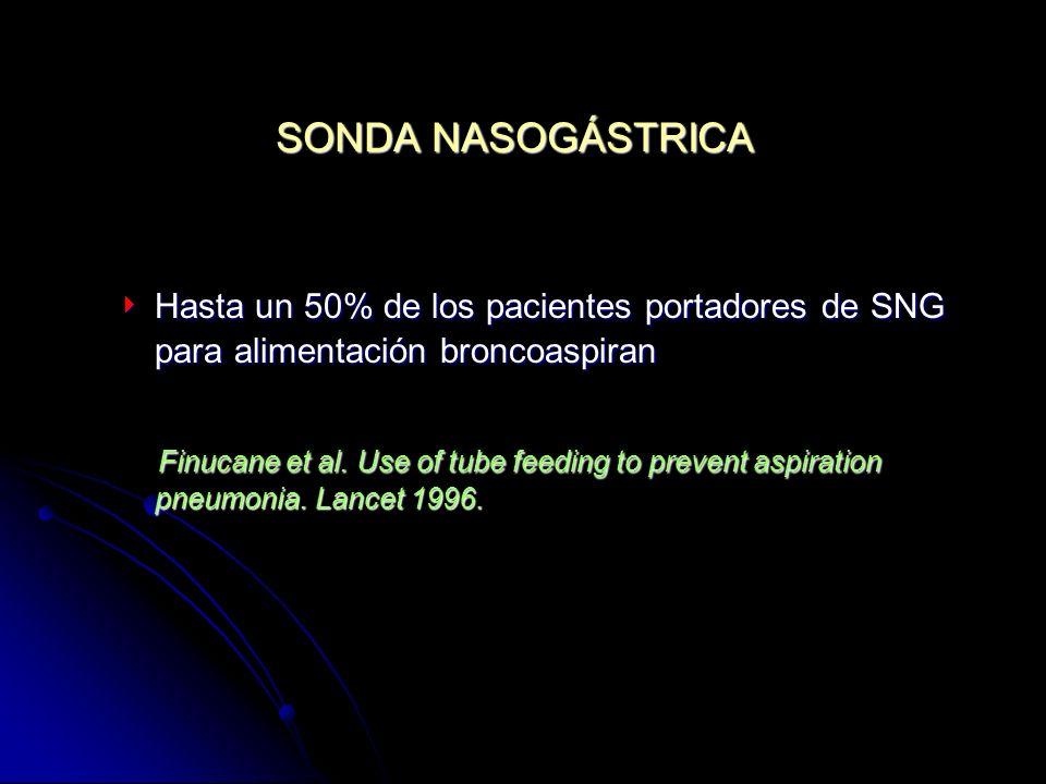 SONDA NASOGÁSTRICA Hasta un 50% de los pacientes portadores de SNG para alimentación broncoaspiran.