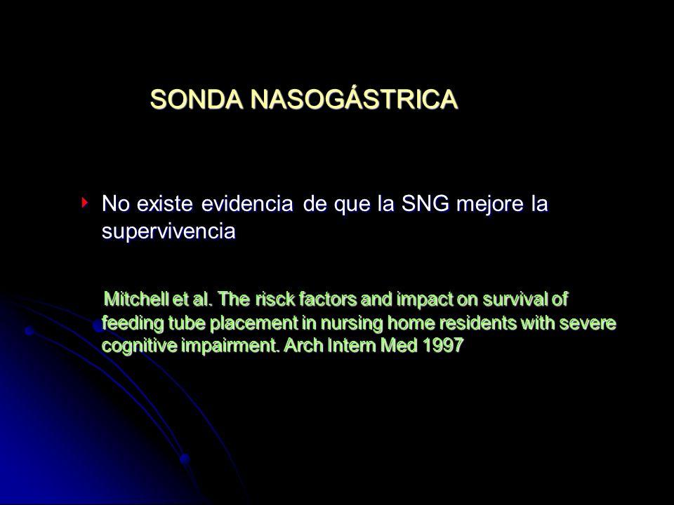 SONDA NASOGÁSTRICA No existe evidencia de que la SNG mejore la supervivencia.