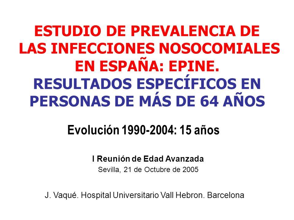 ESTUDIO DE PREVALENCIA DE LAS INFECCIONES NOSOCOMIALES EN ESPAÑA: EPINE. RESULTADOS ESPECÍFICOS EN PERSONAS DE MÁS DE 64 AÑOS