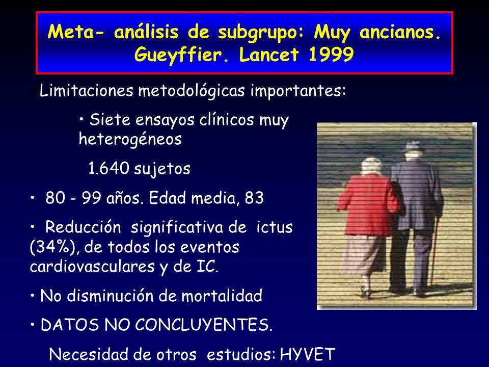 Meta- análisis de subgrupo: Muy ancianos. Gueyffier. Lancet 1999