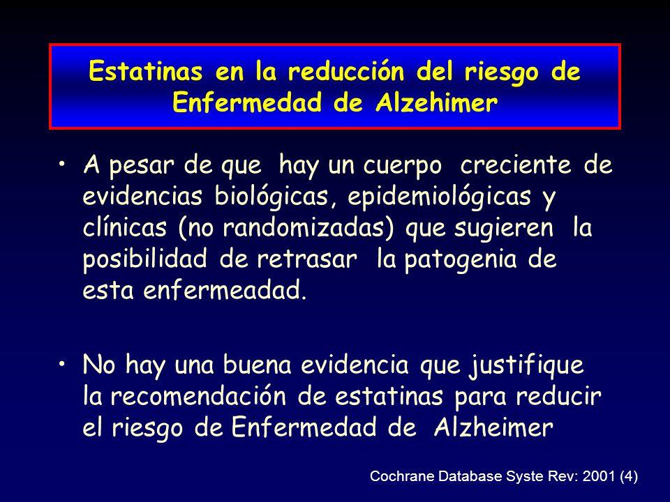 Estatinas en la reducción del riesgo de Enfermedad de Alzehimer