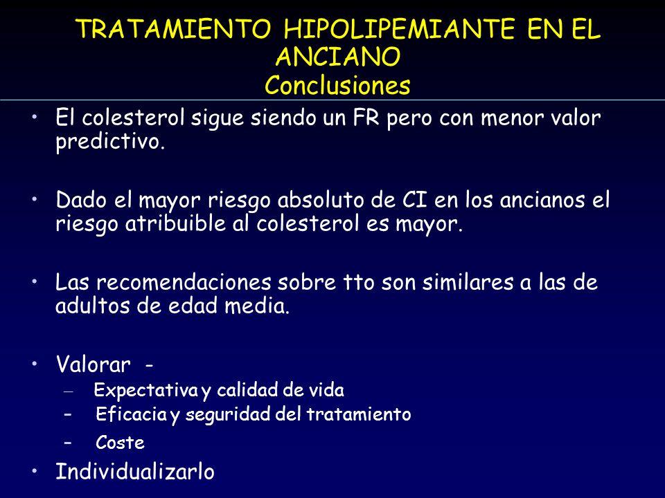 TRATAMIENTO HIPOLIPEMIANTE EN EL ANCIANO Conclusiones