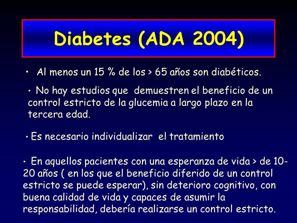 Diabetes (ADA 2004) Al menos un 15 % de los > 65 años son diabéticos.