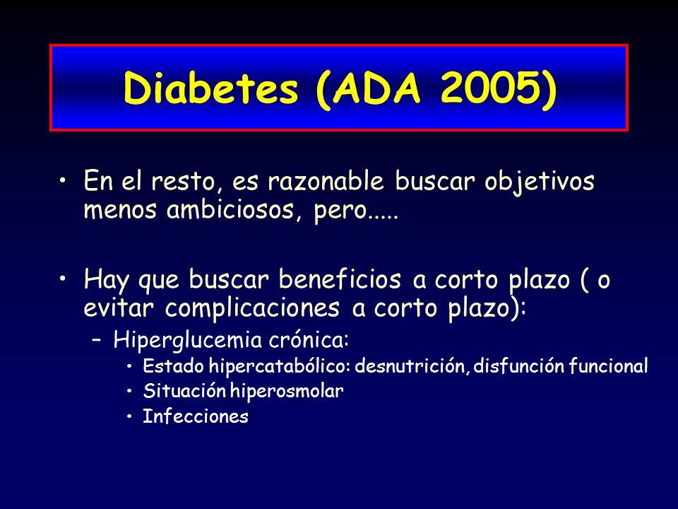 Diabetes (ADA 2005) En el resto, es razonable buscar objetivos menos ambiciosos, pero.....
