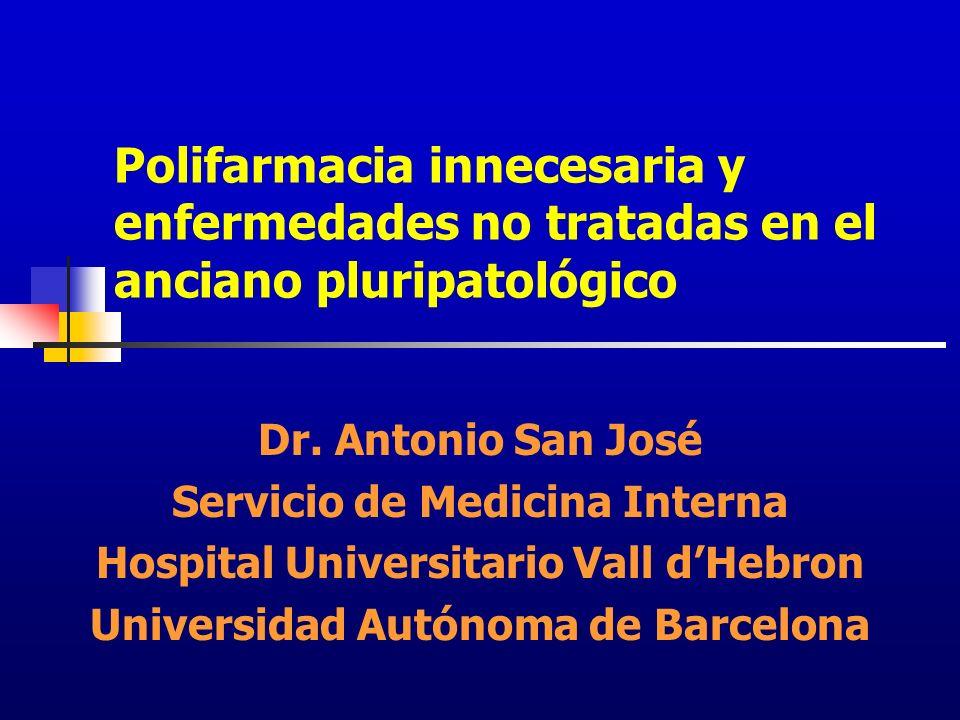 Polifarmacia innecesaria y enfermedades no tratadas en el anciano pluripatológico