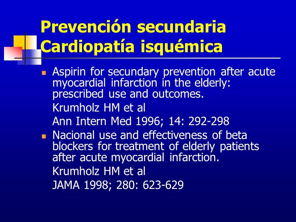 Prevención secundaria Cardiopatía isquémica