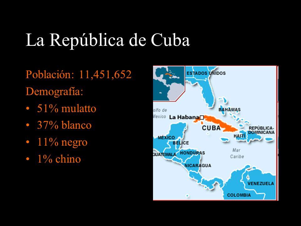 La República de Cuba Población: 11,451,652 Demografía: 51% mulatto