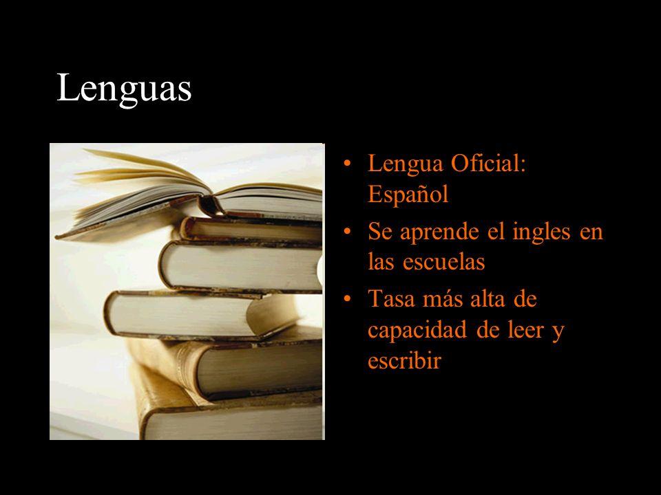 Lenguas Lengua Oficial: Español Se aprende el ingles en las escuelas