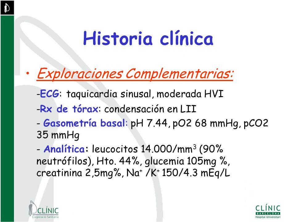 Historia clínica Exploraciones Complementarias: