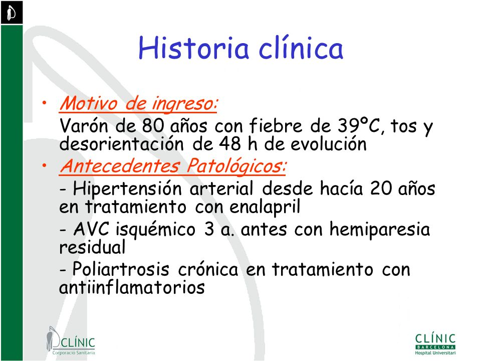 Historia clínica Motivo de ingreso: