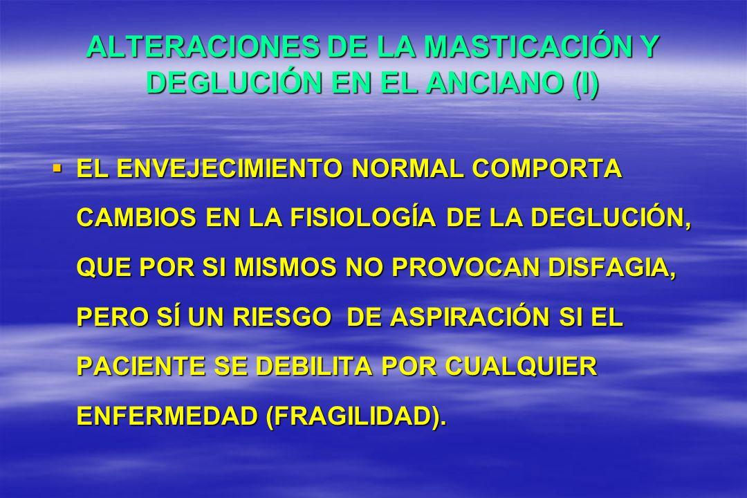 ALTERACIONES DE LA MASTICACIÓN Y DEGLUCIÓN EN EL ANCIANO (I)
