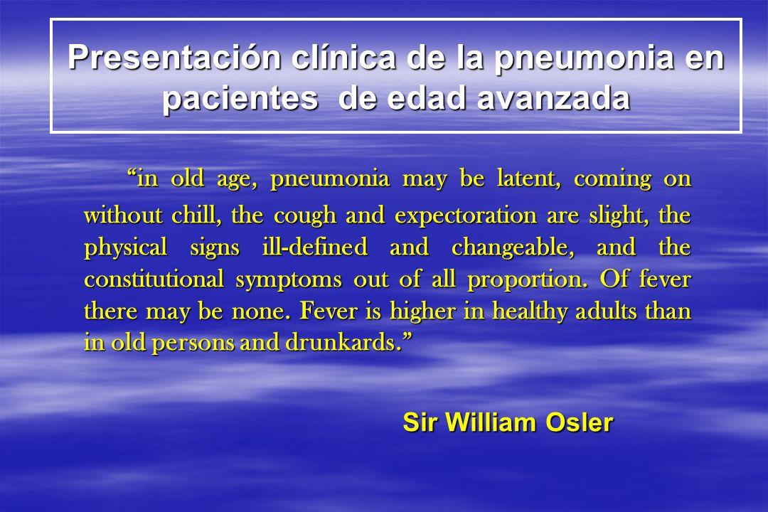 Presentación clínica de la pneumonia en pacientes de edad avanzada
