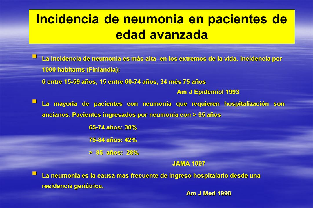 Incidencia de neumonia en pacientes de edad avanzada