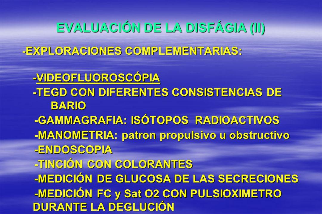 EVALUACIÓN DE LA DISFÁGIA (II)