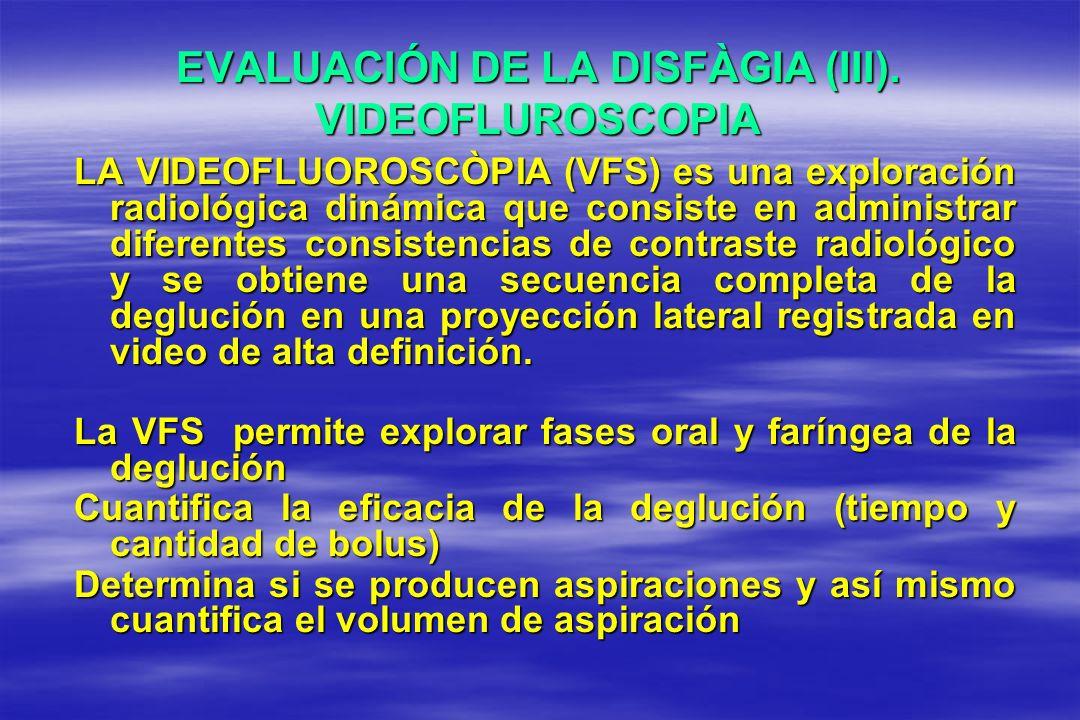 EVALUACIÓN DE LA DISFÀGIA (III). VIDEOFLUROSCOPIA