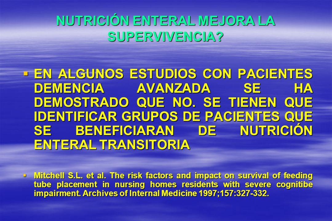 NUTRICIÓN ENTERAL MEJORA LA SUPERVIVENCIA