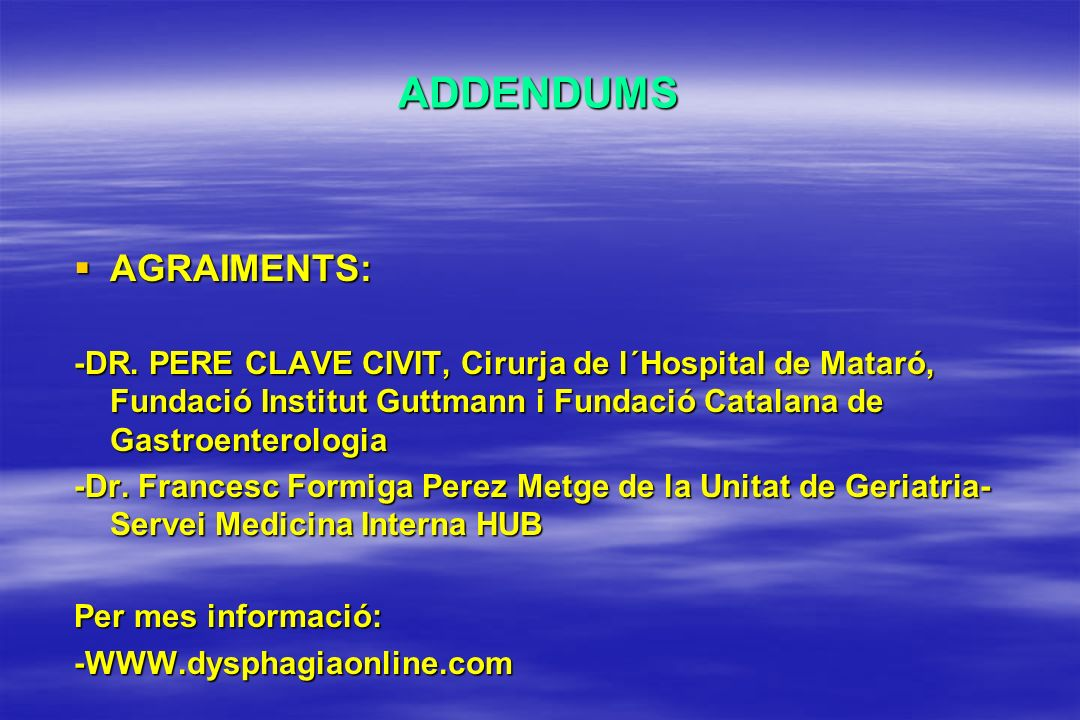 ADDENDUMS AGRAIMENTS: