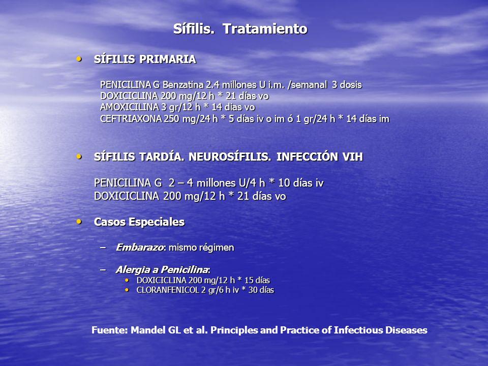 Sífilis. Tratamiento SÍFILIS PRIMARIA