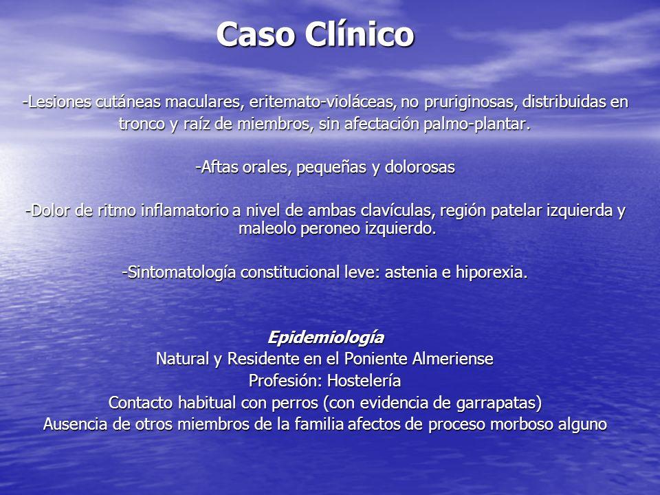 Caso Clínico-Lesiones cutáneas maculares, eritemato-violáceas, no pruriginosas, distribuidas en.