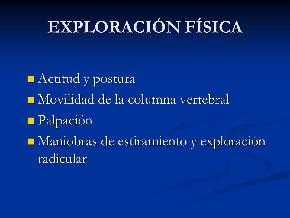 EXPLORACIÓN FÍSICA Actitud y postura Movilidad de la columna vertebral