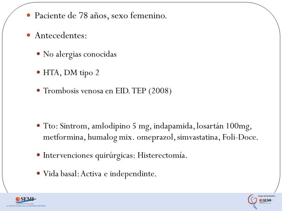 Paciente de 78 años, sexo femenino. Antecedentes: