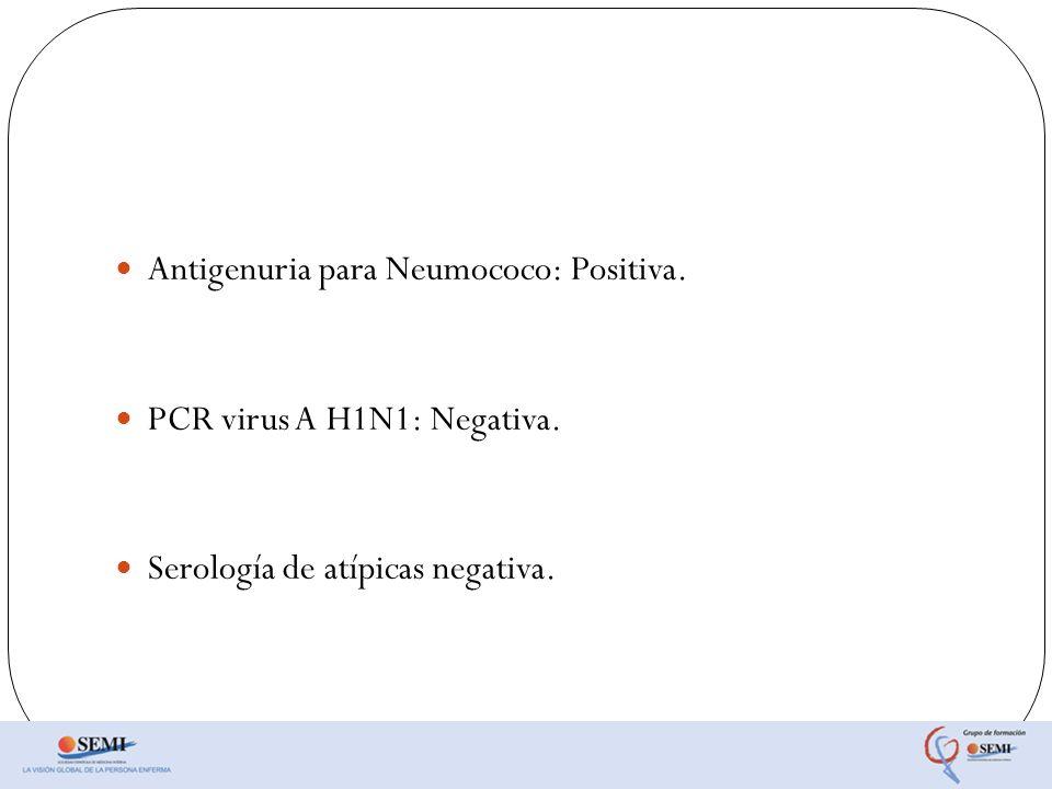 Antigenuria para Neumococo: Positiva.