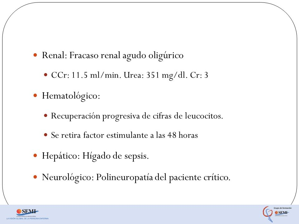 Renal: Fracaso renal agudo oligúrico
