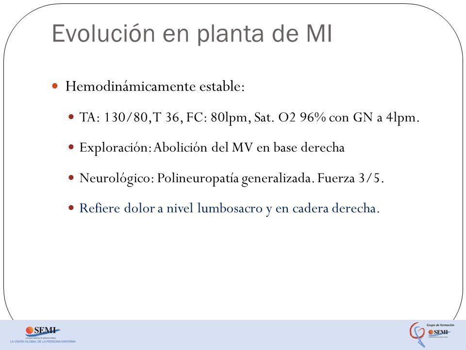 Evolución en planta de MI