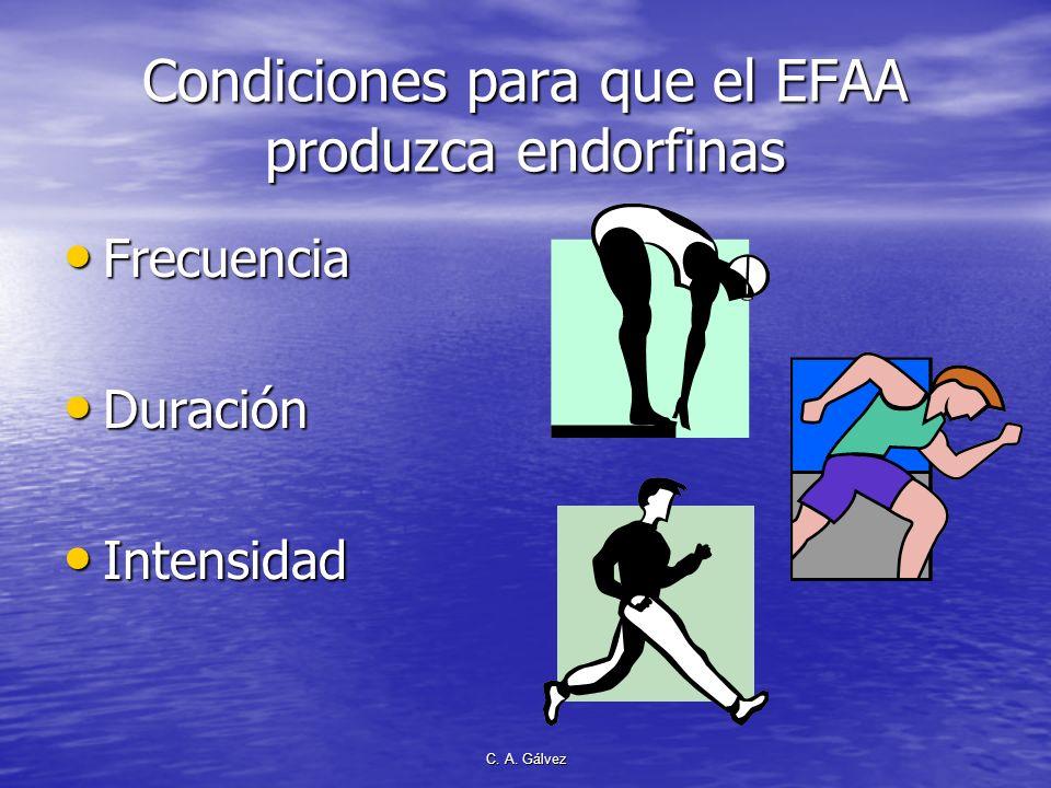 Condiciones para que el EFAA produzca endorfinas