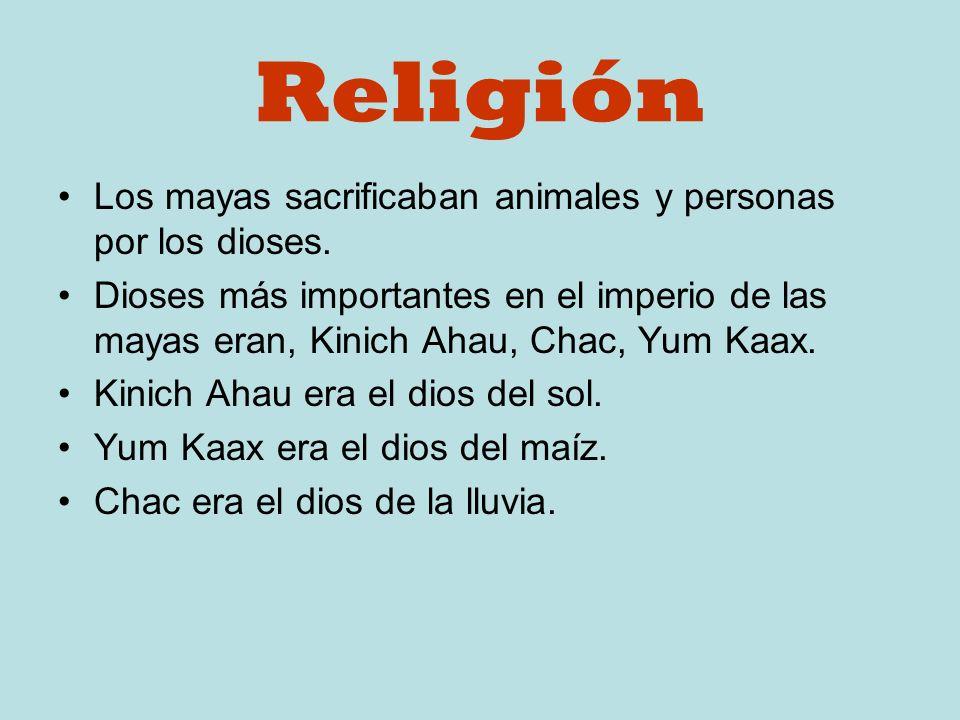 Religión Los mayas sacrificaban animales y personas por los dioses.