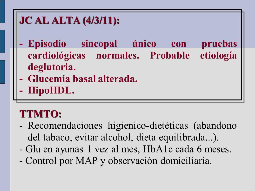 JC AL ALTA (4/3/11): - Episodio sincopal único con pruebas cardiológicas normales. Probable etiología deglutoria.