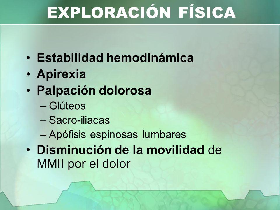 EXPLORACIÓN FÍSICA Estabilidad hemodinámica Apirexia