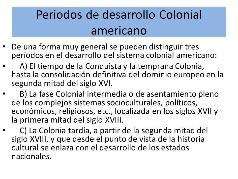 Periodos de desarrollo Colonial americano