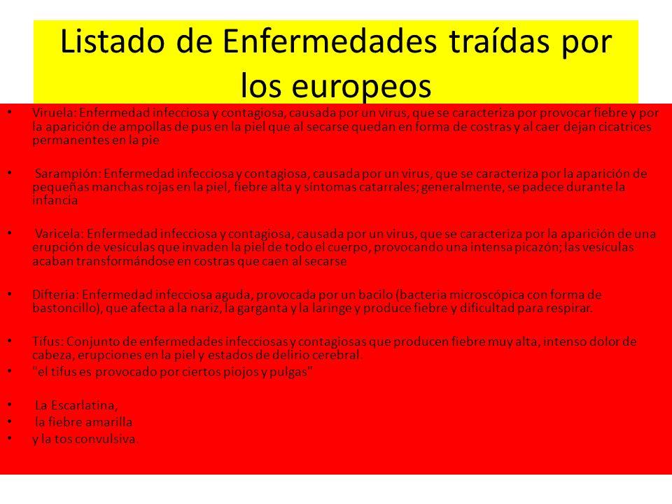 Listado de Enfermedades traídas por los europeos
