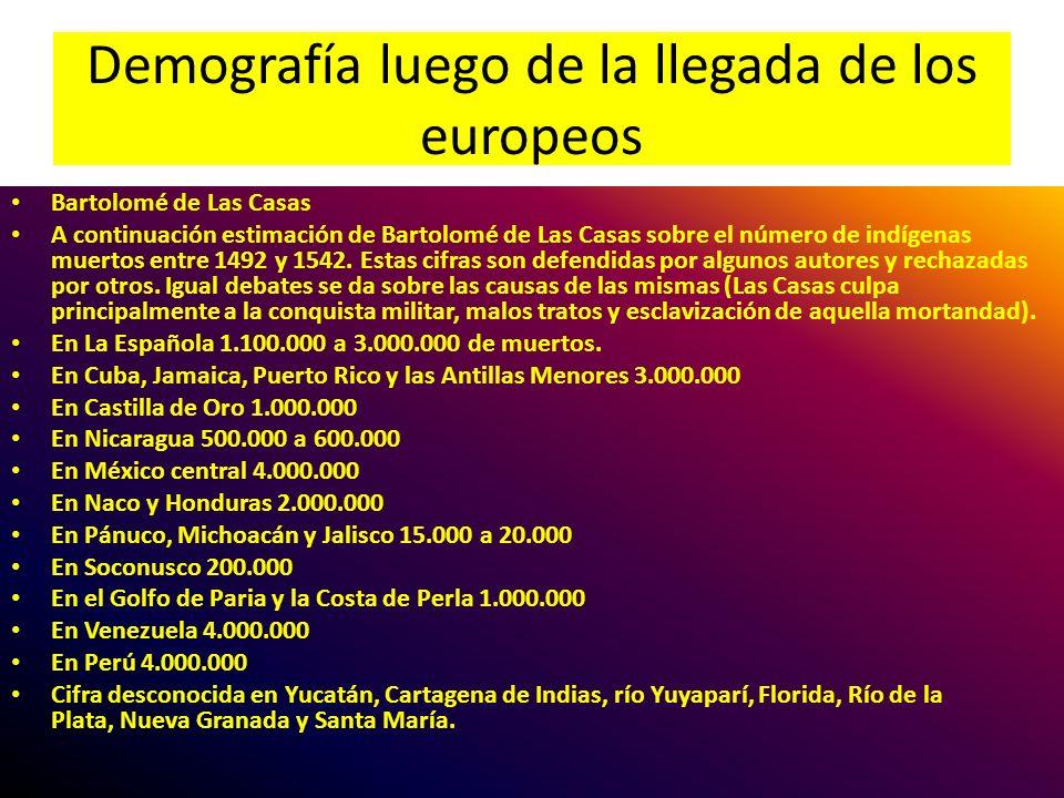 Demografía luego de la llegada de los europeos